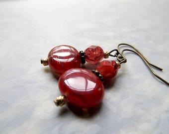 Gothic Earrings Gypsy Jewelry Boho Earrings Hippie Earrings Game of Thrones Fantasy Earrings Bohemian Earrings Rust Red Earrings- Chilling