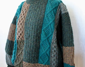 Vintage Irish Sweater Fisherman Knit Wool Hand Knit Brown Green Turquoise Patchwork Cable Athena Designs Women's Unisex