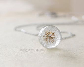 Dandelion Resin Necklace - Small Ball dandelion seeds Necklace - Whole Dandelion