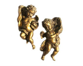 Homco Gold Cherub Pair Holiday Angels Wall Plaques Hollywood Regency Christmas Decor