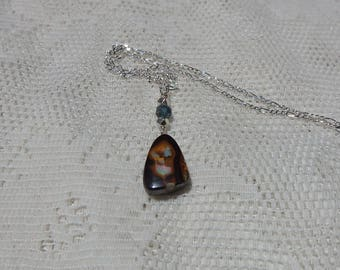 Boulder Opal Necklace , 12 Carat Austrailian Boulder Opal, Sterling Silver Chain