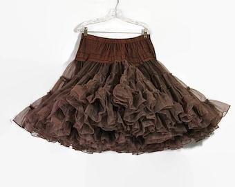 Brown Petticoat, Circle Skirt, Rockabilly, Pin Up Lingerie, 50s Dress