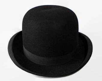 Cavanagh Derby Hat, Black, Bowler, Rolled Brim, Steampunk