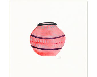 Boho Art Print.  Girls Room Art. Pink Basket art print. Pink Nursery Watercolor Art. Girls Room Illustration.  Watercolor Basket Print.