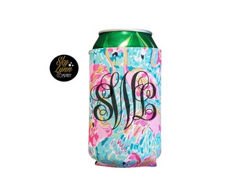 Flamingo Summer Can Holder Watercolor Print Drink Cooler Personzlied Monogram