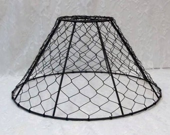Wire lampshade etsy black chicken wire lamp shade bare bulb light shade pendant shade 12x6 metal hex wire industrial greentooth Images