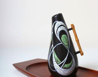 Vintage Ravnild Pottery bamboo handled vase - Danish Modern 1950s - mid century modern studio pottery - retro Scandinavian home decor