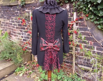 Steampunk bustle tail coat, Cosplay frock coat, Gothic Epaulette jacket, Black riding coat red brocade bow, Refashioned altered couture S/ M