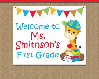 Editable First Day of School Sign, Class Photo Prop, Back to School Ideas, Classroom Sign, Teacher Signs for Classroom Door, Classroom Ideas