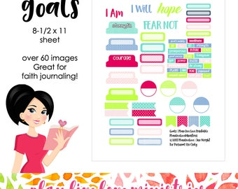 GOALS - Faith Journaling Artwork | Printable Stickers, Ephemera | Bible Journaling, Bible Study | Digital Download
