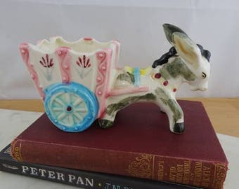 Vintage Ceramic Donkey Planter, Cute Donkey Figurine with Cart, Trinket Dish, Kitsch Decor