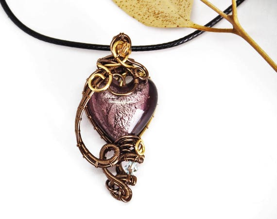 Purple heart pendant lampwork glass necklace wire wrapped jewelry Love Gift for girlfriend Steampunk jewelry love Christmas gift for women