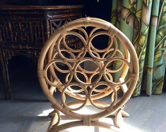 Vintage Rattan wine rack / Bamboo wine holder