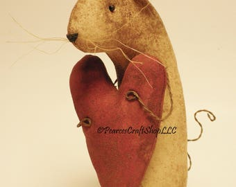 Extreme Primitive Heart Mouse - Made To Order, Primitive Valentine's Gifts, Country Farmhouse Decor