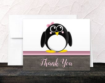 Penguin Thank You Cards - Rustic Wood Cute Penguin Pink and Brown - Blank Inside - Printed Cards