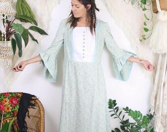 70s Bohemian Maxi Dress, Vintage Boho Calico dress, Flared sleeve Hippie dress, Medium 3663