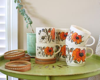 Botanical Vintage Cups, Wildflower pottery 70s Bohemian home Boho kitchen Coffee cups Tea cups Set of 6 mismatching
