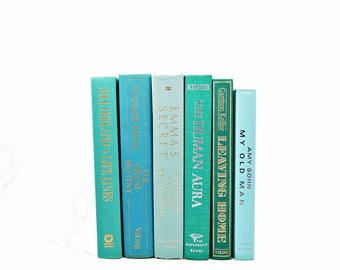 Ocean Green Decorative Books, Antique Turquoise Book Set, Pastel BOok Decor, Wedding Decor, Instant Library Old BOok collection, HOme Decor
