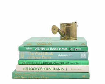 GARDEN Books,Teal greenGardening Book Collection, Decorative Books, Vintage Books, BOOk Gift, House Plants, Old Book Set,  Book Decor