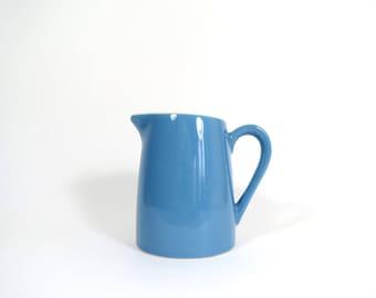 Vintage Blue Creamer Pitcher // Vintage Blue Heaven Style Medium Blue Cream or Milk Small Serving Pitcher Jug Mid Century Modern Atomic Era