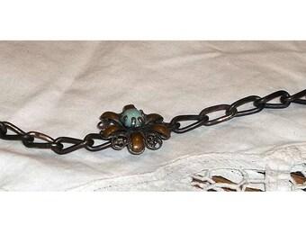 Unique Vintage Bracelet, Large Link Chain, flower easter egg bead