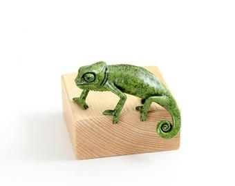Chameleon, juvenile. 'Enrapt'. Limited edition bronze
