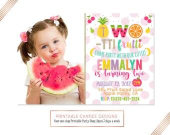 Two-tti Frutti Birthday Invitation, Twotti Frutti Party, Tutti Fruitti Invitation, Tutti Frutti Birthday, Fruit Birthday, Pool Party