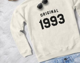 25th birthday gift for womens graphic sweatshirts birthday sweaters 1993 T shirts year of birth girlfriend gifts for her