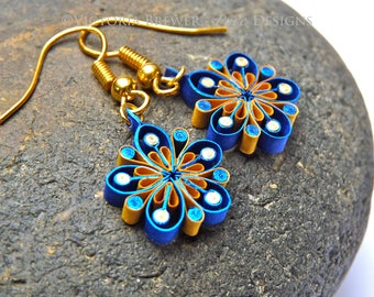 Earrings - Eco-friendly, flowers, quilled paper, paper quilling