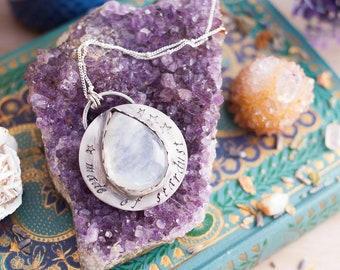 Silver Moonstone Necklace - Made of Stardust - Gemstone Necklace - Stardust Necklace - Boho Necklace