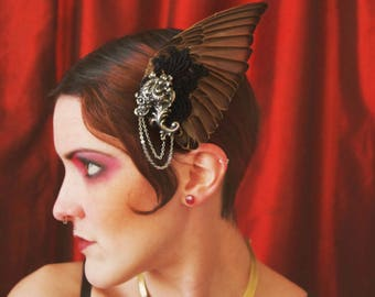 Starling Bird Wing hair fascinator with black lace and antique silver metal scroll work ~ Art Deco ~ Alternative wedding ~ FREE SHIPPING