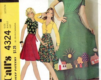 "Easy 1970s Women's Wrap Skirt Pattern- Size Medium, Waist 28"" to 30"" - McCall's 4324"