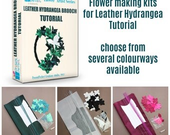 Leather flower making kit, leather jewelry kit, craft kit, DIY kit, leather kit, brooch kit, leather jewelry kit, flower making supplies