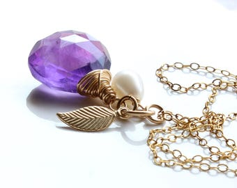 Amethyst Necklace, Gold Leaf & Pearl Charms, Gold-filled wire wrap, rich purple gemstone necklace, holiday gift for her, February birthstone