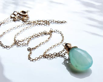 Blue Chalcedony Necklace, Goldfill wire wrap aqua blue gemstone, solitaire necklace,holiday gift for her, simple minimalist necklace, 4173