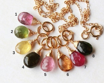 Multi-Colored Tourmaline Pendant Charm delicate necklace, Goldfilled wire wrapped rainbow gemstone, October birthstone, holiday gift for her