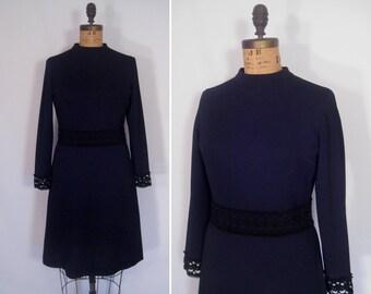 1960s mid-century black lace trim shift dress • 60s noir minimalist mod dress • vintage that midnight touch dress