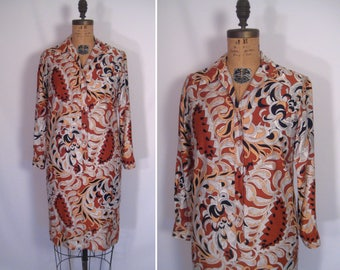 1960s mod paisley print day dress • 60s mid-century black white and brown abstract print shirtdress • vintage again and again dress