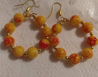 Yellow Multi Gold 8MM Bead Gold Hoop Earrings