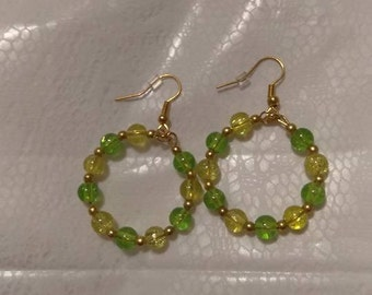 Green Ice/Yellow Gold Hoops