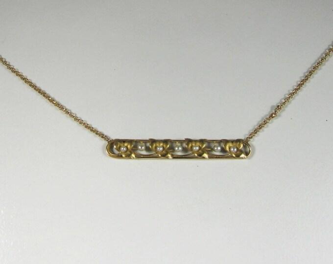 Antique Bar Pin Necklace, Bar Pin Necklace, Bar Necklace, Pearl Bar Necklace, Art Nouveau, Art Nouveau Bar Pin Necklace, June Birthstone