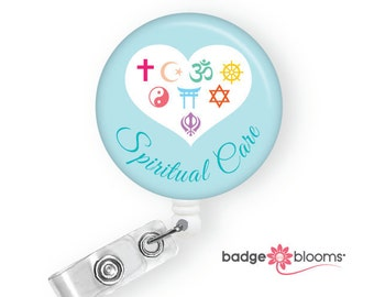 Spiritual Care Badge Reel - Pastoral Care Gift - Chaplain Badge Pull - Retractable Badge Holder - ID Badge Clips - Retractors - BadgeBlooms