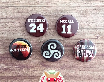 Teen Wolf inspired buttons - pinback or magnets ||| Stiles Stilinski Scott McCall Derek Hale Werewolf Triskelion Sterek badges