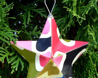 hand-crafted vintage wallpaper star ornament (small)