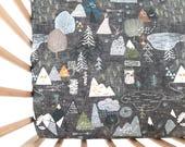 Crib Sheet Charcoal Max's Map. Fitted Crib Sheet. Baby Bedding. Crib Bedding. Woodland Crib Sheet. Adventure Nursery.