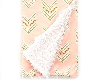 Baby Blanket Blush Gold Chevron. The Cloud Blanket. Faux Fur Baby Blanket. Minky Baby Blanket. Blush Chevron Baby Blanket.