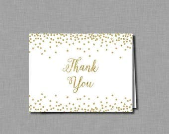 Gold Glitter Bridal Shower thank you cards Amelia BR60 Digital or Printed