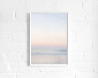 Pastel Ocean Sunset A3 Art Print, Abstract Multi Colour Poster, Large Print, Minimalist, Colourful Wall Decor, Girls Room