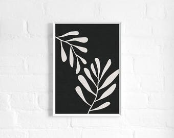 Natural Leaves Abstract A3 Art Print, Monochrome Botanical, Linen Texture, Organic, Minimalist Art Poster, Modern Abstract Art, Wall Decor