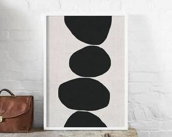 Natural Stacked Stones Abstract A1 Art Print, Monochrome, Linen Texture, Organic, Minimalist Art Poster, Modern Abstract Art, Wall Decor